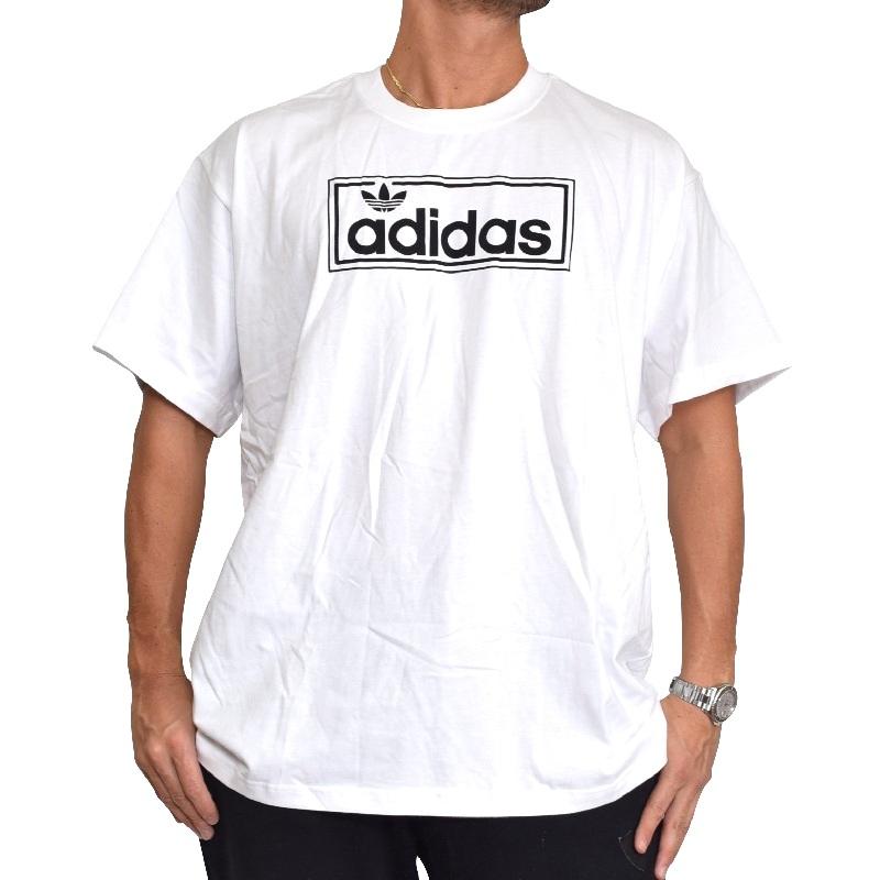 大きいサイズ メンズ adidas アディダス オリジナル originals 半袖Tシャツ ロゴプリント 海外モデル 白 ホワイト 黒 ブラック XL XXL 4XO 6XO 【メール便対応】 [M便 1/1]