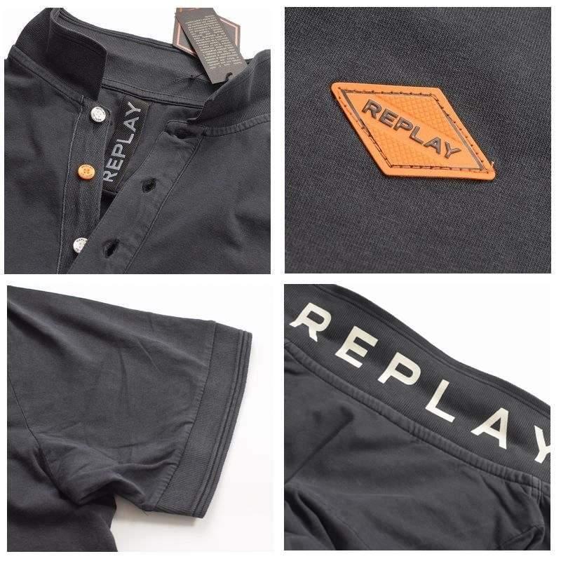 大きいサイズ メンズ REPLAY リプレイ 半袖ポロシャツ ワンポイント コットン 黒 ブラック ネイビー XL XXL XXXL