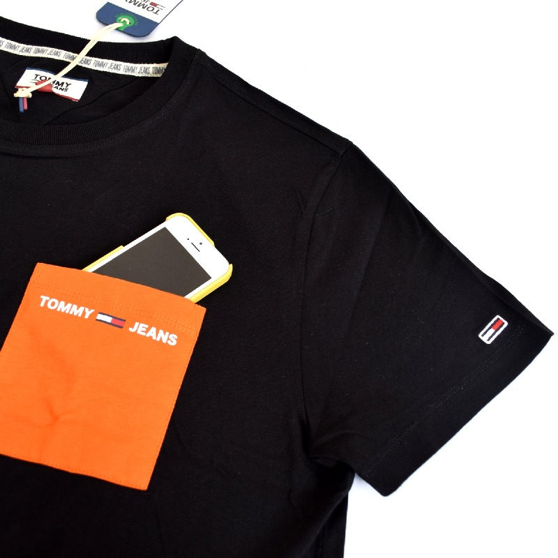 大きいサイズメンズ トミーヒルフィガージーンズ TOMMY HILFIGER JEANS クルーネック 半袖Tシャツ ポケット ネイビー ホワイト 白 黒 ブラック XL XXL 【メール便対応】 [M便 1/1]