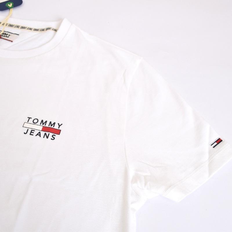 大きいサイズメンズ トミーヒルフィガージーンズ TOMMY HILFIGER JEANS クルーネック 半袖Tシャツ ホワイト 白 XL XXL 【メール便対応】 [M便 1/1]