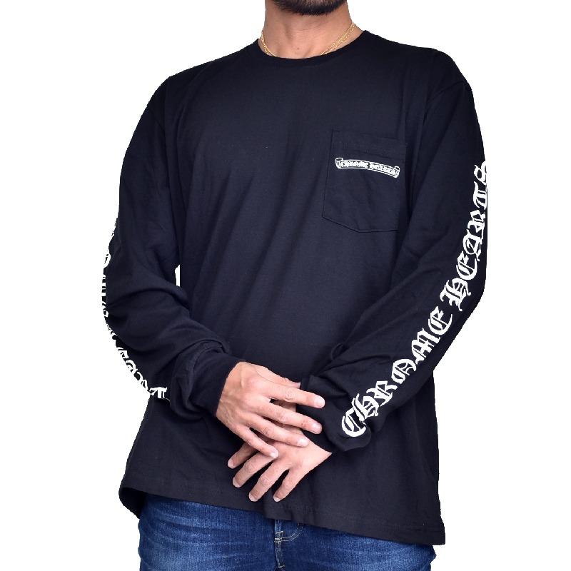 大きいサイズ メンズ CHROME HEARTS クロムハーツ ロンT 長袖 Tシャツ 黒 ブラック XXL