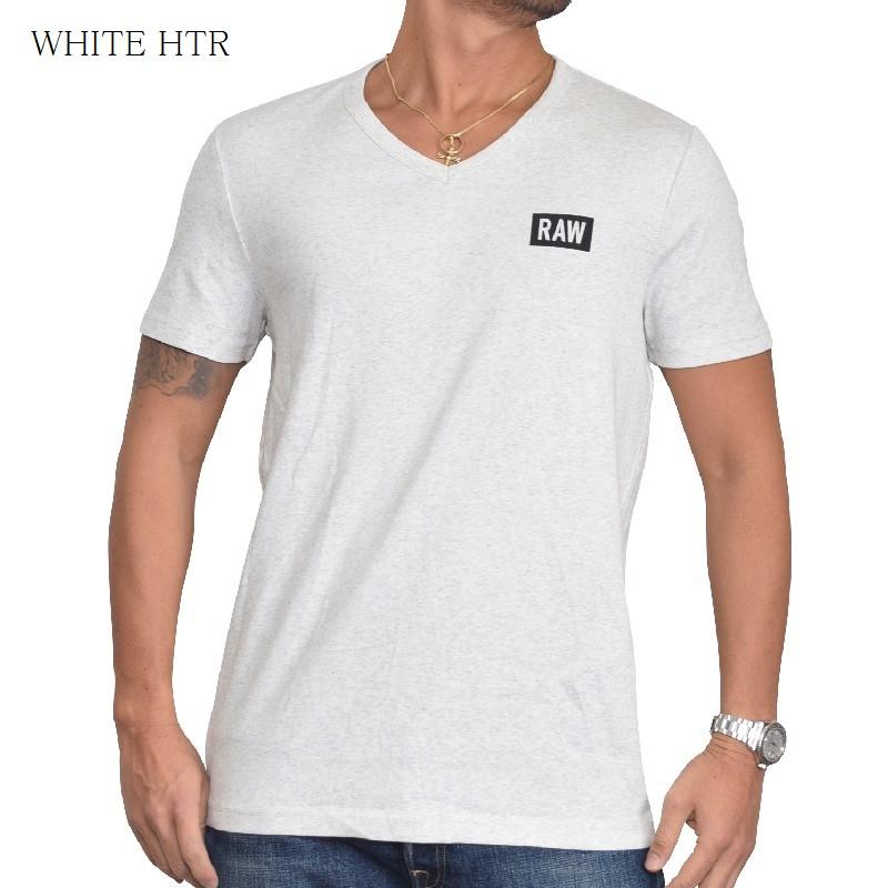 【SALE】 大きいサイズ メンズ G-STAR RAW ジースターロゥ Vネック ワンポイントロゴ 半袖Tシャツ DRILLON V T S/S 白 黒 XL XXL