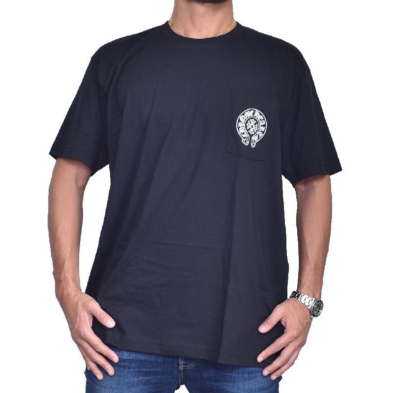 大きいサイズ メンズ CHROME HEARTS クロムハーツ 半袖 Tシャツ 黒 ブラック XXL