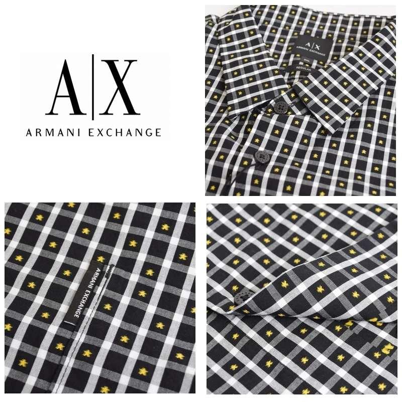 大きいサイズ メンズ アルマーニエクスチェンジ A/X ARMANI EXCHANGE カジュアル チェック柄 半袖シャツ XL XXL