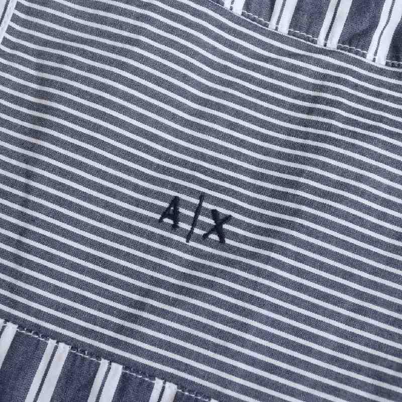 大きいサイズ メンズ アルマーニエクスチェンジ A/X ARMANI EXCHANGE カジュアル ストライプ柄 半袖シャツ REGULAR FIT XL XXL