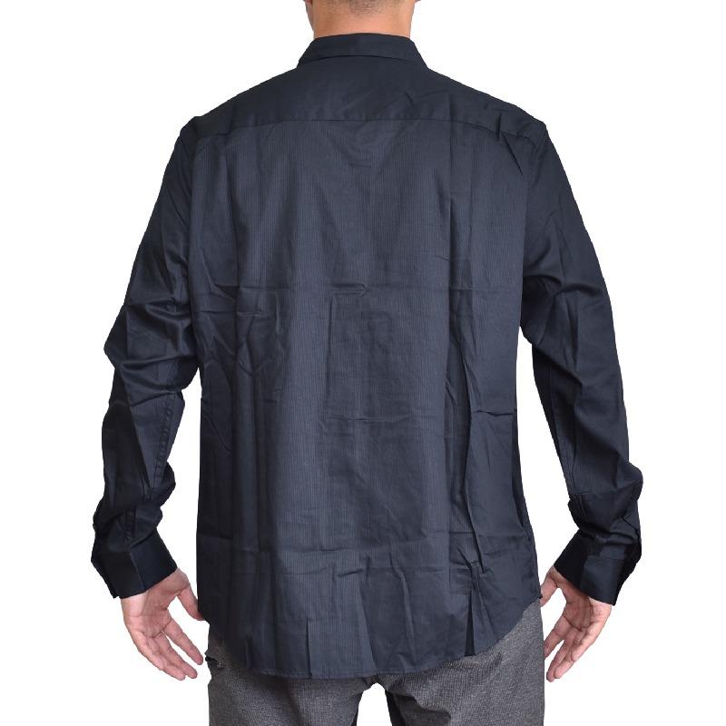 大きいサイズ メンズ アルマーニエクスチェンジ A/X ARMANI EXCHANGE デザイン カジュアル 長袖シャツ 黒 ブラック REGULAR FIT XL XXL