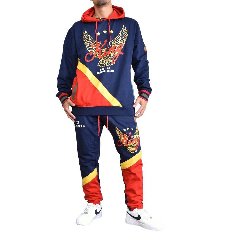 【SALE】 大きいサイズ メンズ REASON CLOTHING リーズンクロージング KING HOODIE JOGGER セットアップ パーカー プルオーバー スウェット XXL XXXL
