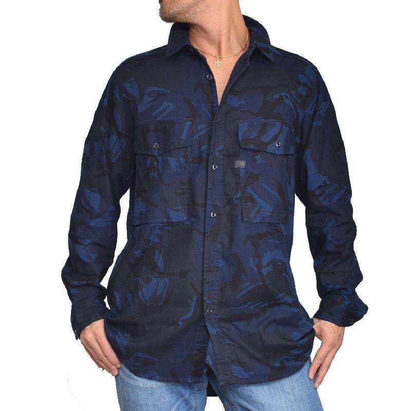 大きいサイズ メンズ G-STAR RAW ジースターロゥ 迷彩 カモフラ 長袖シャツ ブルー 青 XL XXL