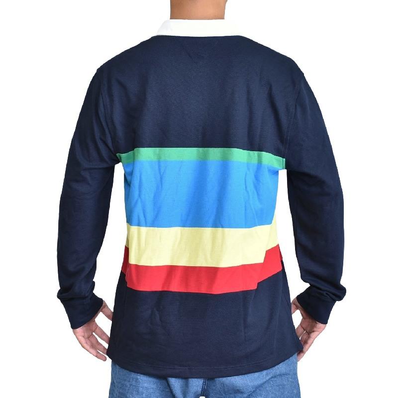 大きいサイズメンズ TOMMY HILFIGER トミーヒルフィガー ボーダー ワンポイント 長袖 ポロシャツ ラガーシャツ XL XXL XXXL