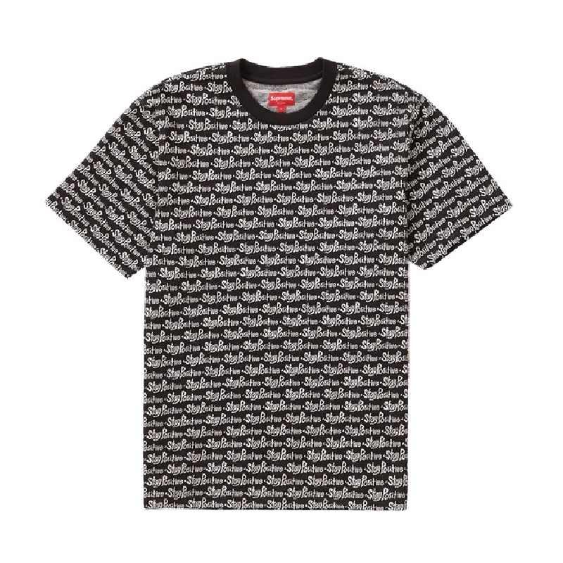 大きいサイズ メンズ Supreme シュプリーム ロゴプリンT 半袖Tシャツ 2020FW Stay Positive Jacquard S/S Top 半袖Tシャツ XL