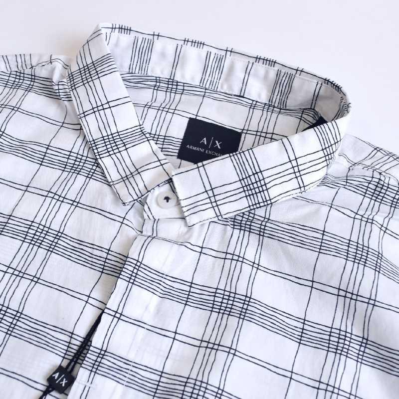 大きいサイズ メンズ アルマーニエクスチェンジ A/X ARMANI EXCHANGE カジュアル チェック柄 半袖シャツ SLIM FIT XL XXL
