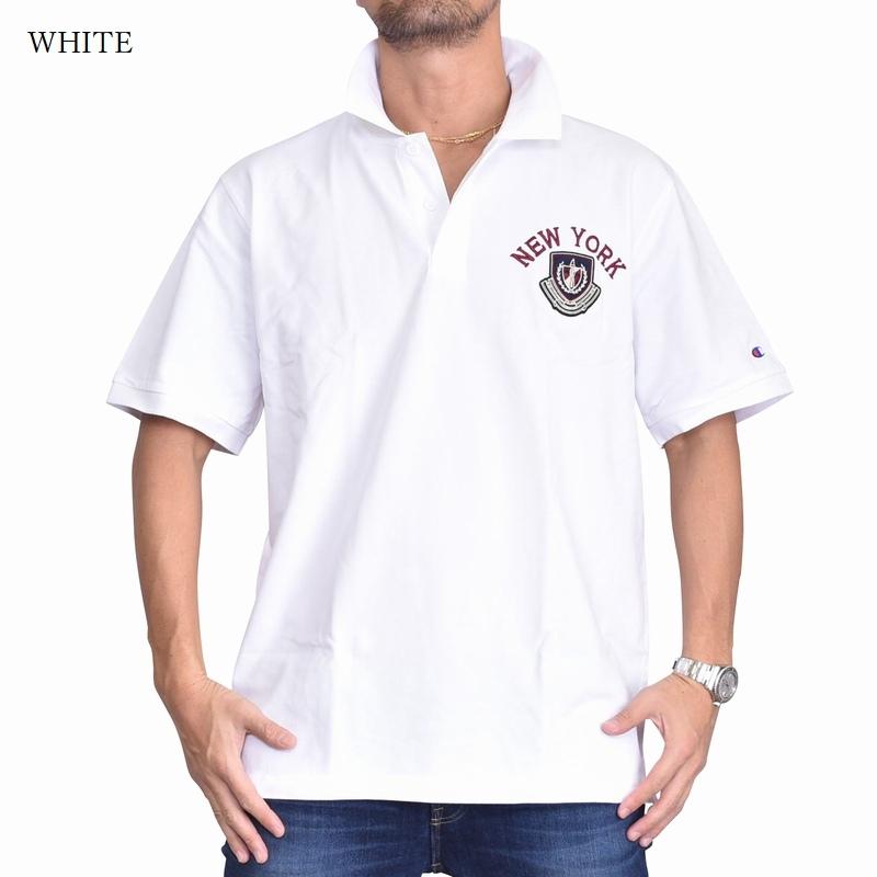 大きいサイズメンズ チャンピオン Champion 半袖ポロシャツ ワンポイント 鹿の子 キャンパス 黒 白 ネイビー 3L 4L 5L