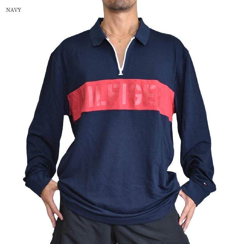大きいサイズメンズ TOMMY HILFIGER トミーヒルフィガー ハーフジップ 長袖 ポロシャツ ラガーシャツ XXL XXXL