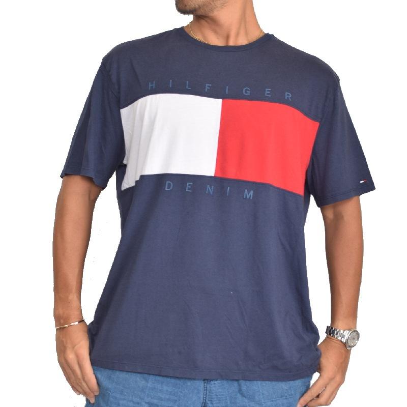 【SALE】 大きいサイズメンズ トミーヒルフィガーデニム クルーネック 半袖Tシャツ USAモデル TOMMY HILFIGER DENIM XL XXL