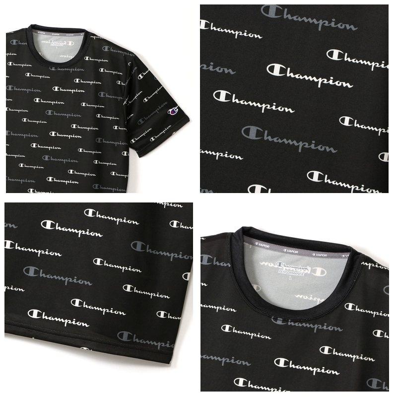 大きいサイズメンズ チャンピオン Champion C VAPOR TRAINING 半袖Tシャツ 総ロゴ 黒 白 ネイビー 3L 4L 5L 【メール便対応】 [M便 1/1]