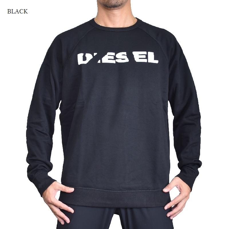 【アウトレット返品不可】 Diesel ディーゼル クルーネック スウェットシャツ トレーナー 黒 グレー ORESTES-BRO SWEAT-SHIRTS XXL