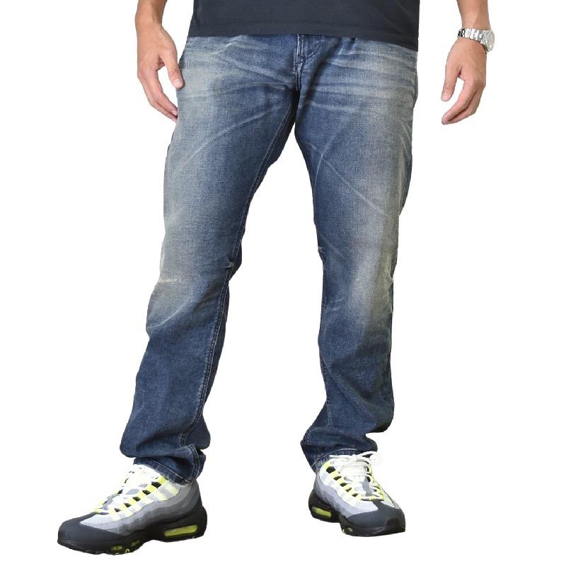 大きいサイズ メンズ DIESEL ディーゼル デニムパンツ ジーンズ レギュラー スリム ストレッチ KRAYVER R78U6 STRETCH 38インチ