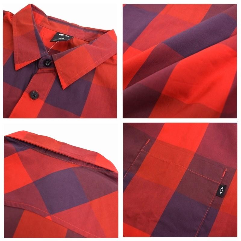 【SALE】 大きいサイズ メンズ OAKLEY オークリー チェック柄 ポケット 半袖シャツ USAモデル 赤黒 XL XXL