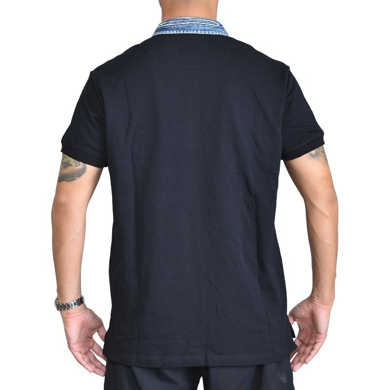 大きいサイズ メンズ ディーゼル Diesel 半袖ポロシャツ ワンポイント 襟デニム 黒 T-MILES-NEW POLO SHIRTS XXL