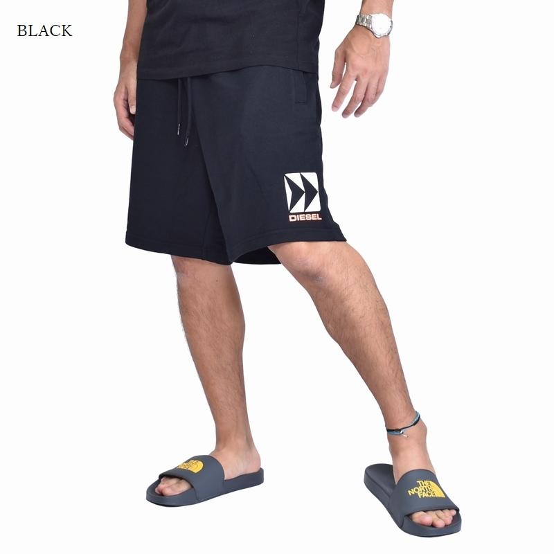 大きいサイズ メンズ ディーゼル Diesel スウェットショーツ 裏毛 ハーフパンツ BEACH ビーチライン 黒 白 XXL