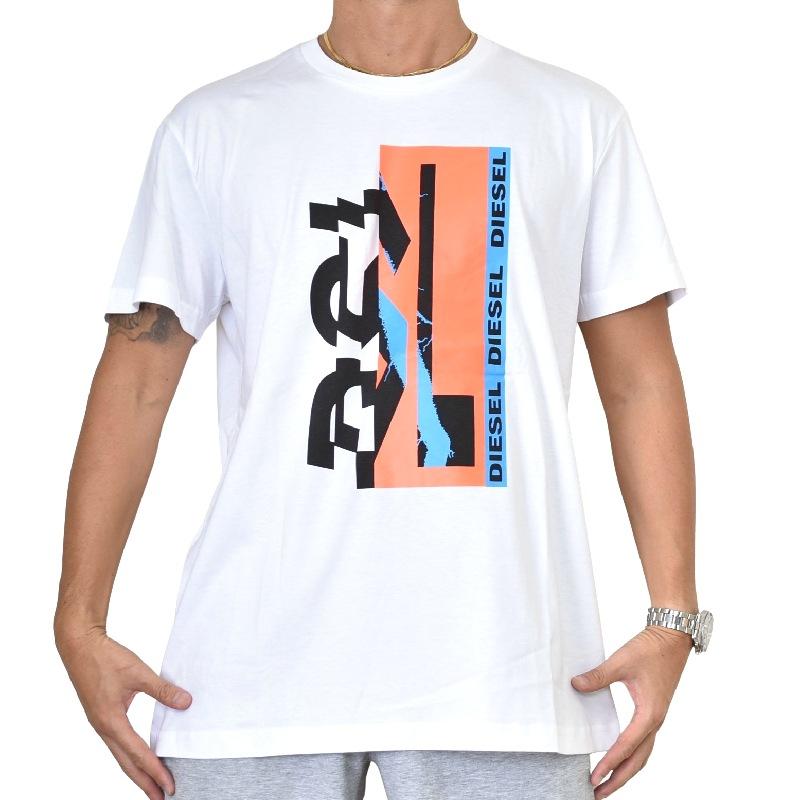 大きいサイズ メンズ DIESEL ディーゼル 半袖 クルーネック Tシャツ 黒 ブラック 白 ホワイト T-DIEGO-YA XXXL 【メール便対応】 [M便 1/1]