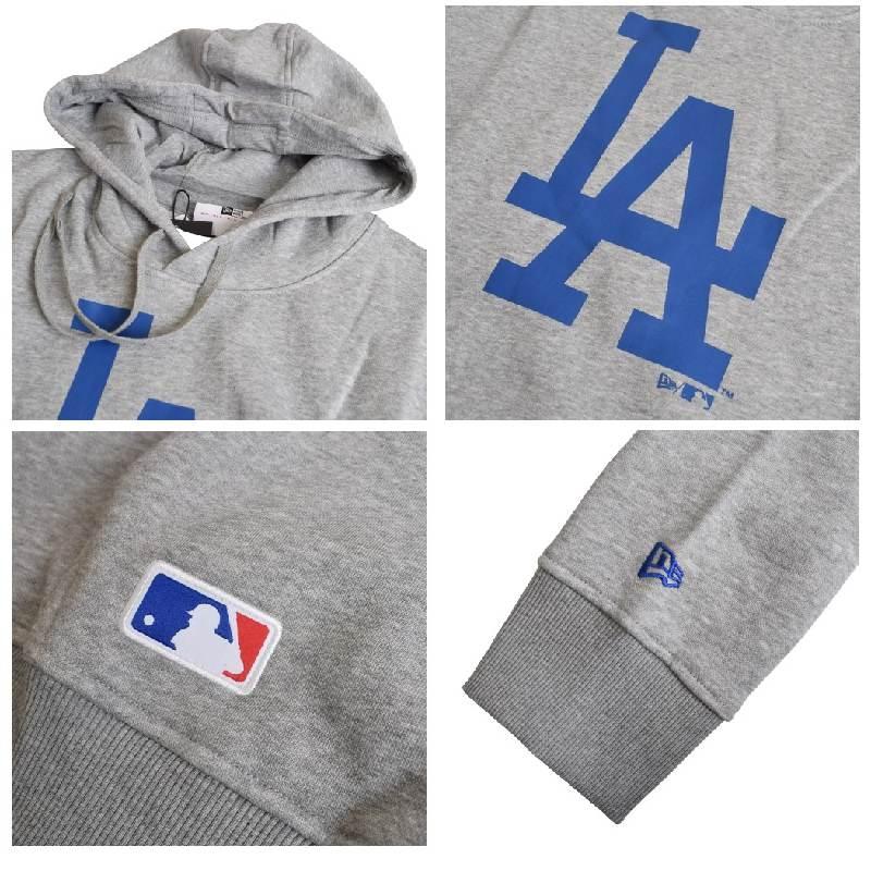 大きいサイズ メンズ NEW ERA ニューエラ パーカー スウェット プルオーバー MLB LA ロサンゼルスドジャース グレー XL XXL XXXL XXXXL