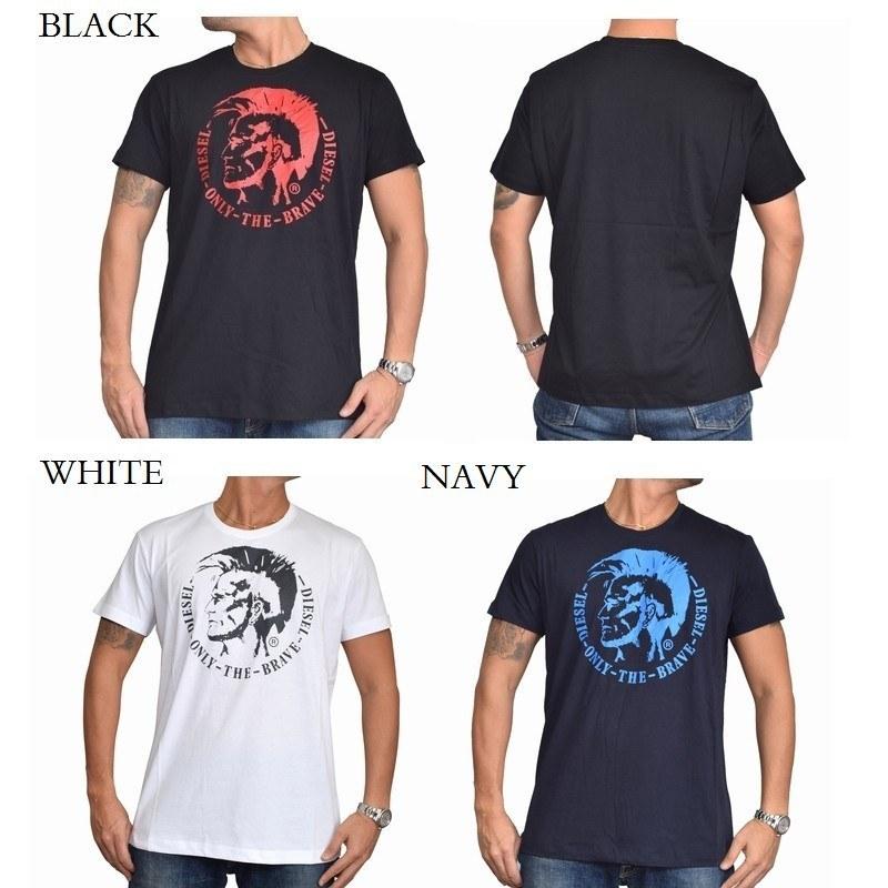 【SALE】 大きいサイズ メンズ ディーゼル Diesel クルーネック Tシャツ T-HEAD-PS 黒 白 赤 ネイビー XXL XXXL 【メール便対応】 [M便 1/1]