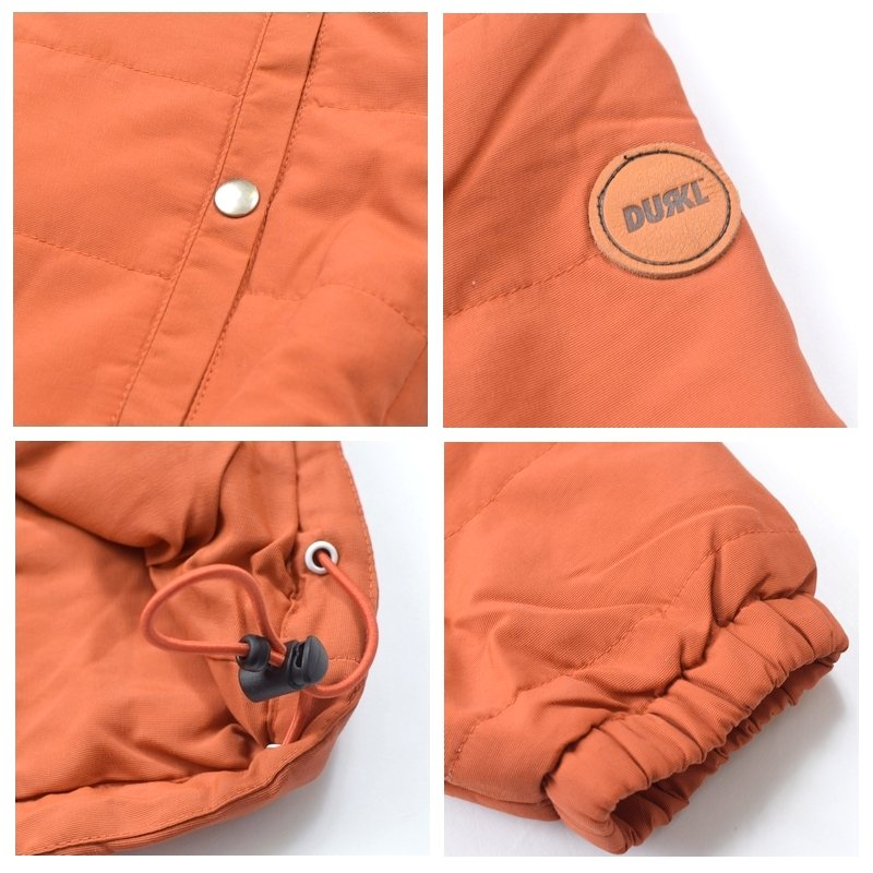 大きいサイズ メンズ DURKL ダークル フルジップ ダウンジャケット アウター 薄手 オレンジ XXL
