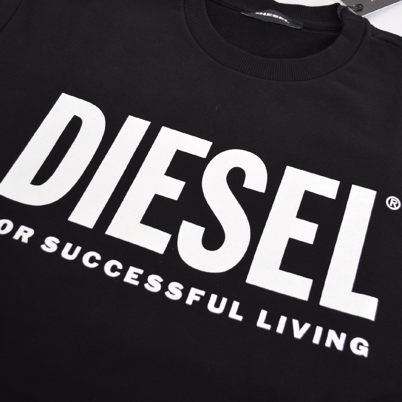 大きいサイズ メンズ Diesel ディーゼル S-GIR-DIVISION-LOGO クルーネック スウェットシャツ トレーナー 黒 ブラック XXL XXXL
