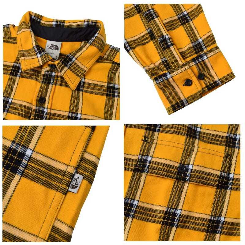 大きいサイズ メンズ ノースフェイス THE NORTH FACE チェック 長袖 シャツ ネルシャツ ARROYO FLANNEL 黄色 イエロー USAモデル XL XXL