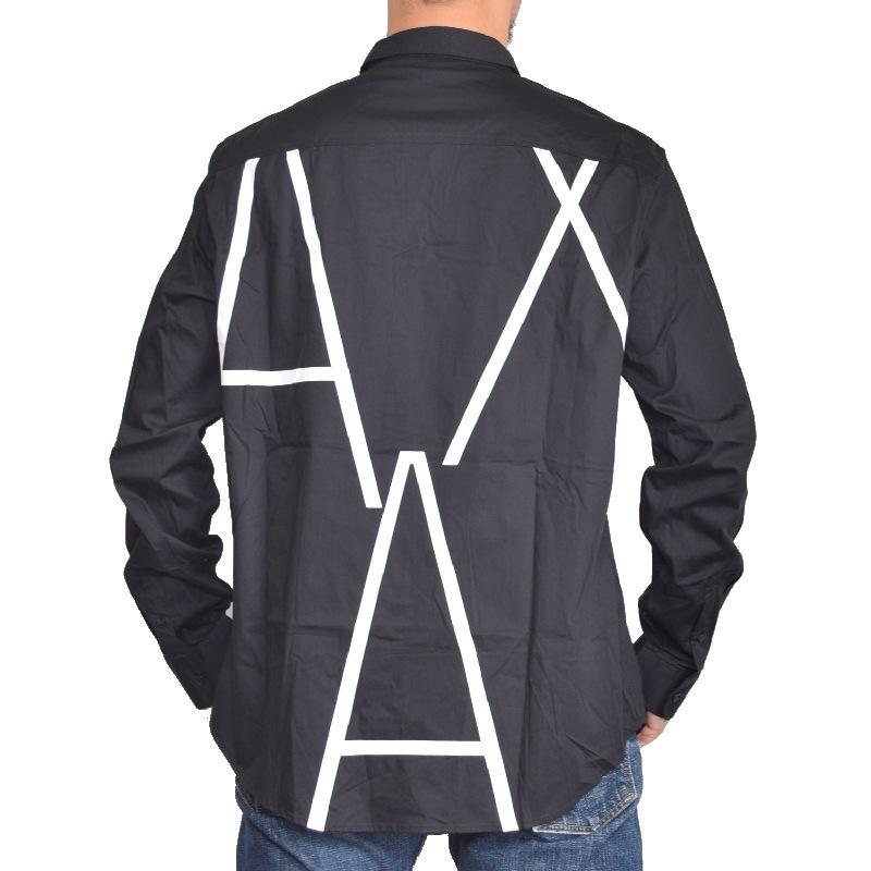 【アウトレット代引返品不可】アルマーニエクスチェンジ A/X ARMANI EXCHANGE 長袖シャツ ロゴプリント 黒 ブラック XL