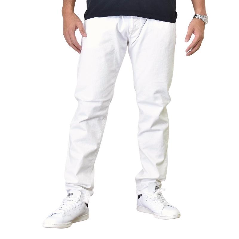 大きいサイズ メンズ DIESEL ディーゼル ホワイト デニムパンツ ジーンズ スリムスキニー TROXER SLIM SKINNY R48AT STRECH 38インチ