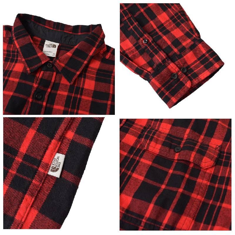 大きいサイズ メンズ ノースフェイス THE NORTH FACE チェック 長袖 シャツ ネルシャツ ARROYO FLANNEL 赤 レッド USAモデル XL XXL