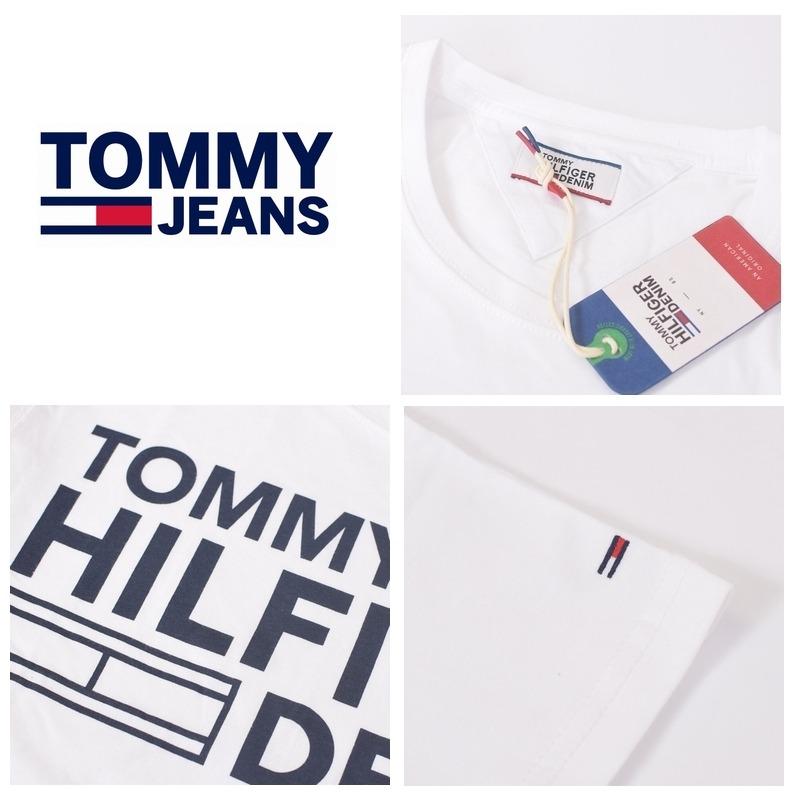 【SALE】 大きいサイズメンズ トミーヒルフィガージーンズ TOMMY HILFIGER JEANS クルーネック 半袖Tシャツ ホワイト 白 XL XXL 【メール便対応】 [M便 1/1]