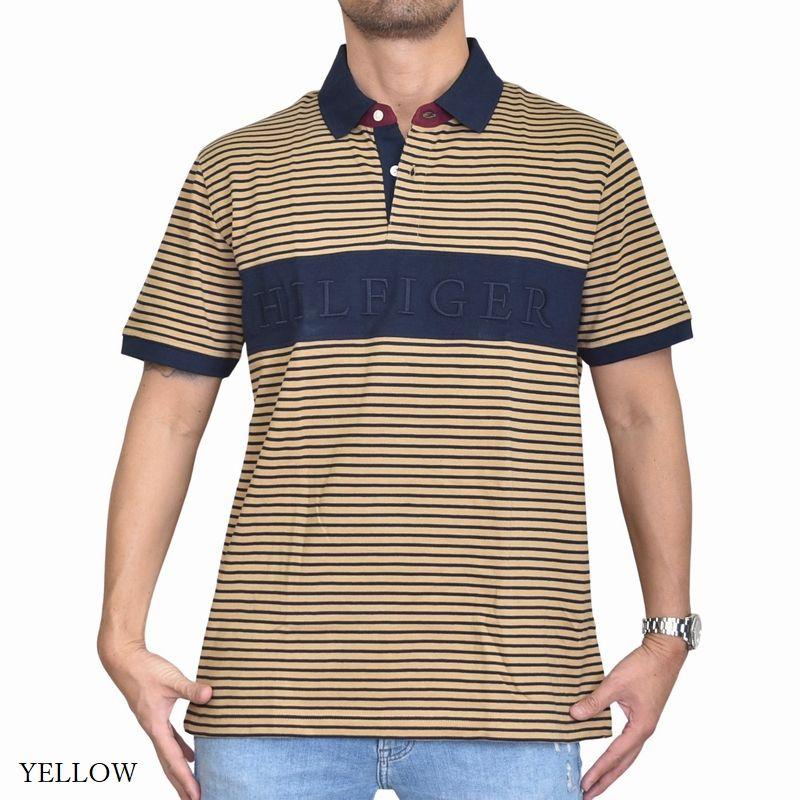 大きいサイズメンズ トミーヒルフィガー TOMMY HILFIGER 鹿の子 半袖 ポロシャツ ロゴ刺繍 ボーダー柄 XL XXL XXXL