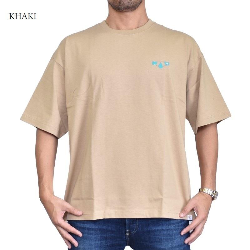 【SALE】 大きいサイズ メンズ FILA HERITAGE フィラ ヘリテージライン Tシャツ 半袖  クルーネック 黒 ブラック カーキ XL XXL 【メール便対応】 [M便 1/1]