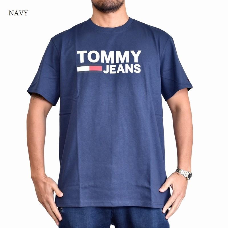 【SALE】 大きいサイズメンズ トミーヒルフィガージーンズ TOMMY HILFIGER JEANS クルーネック 半袖Tシャツ ネイビー XL XXL 【メール便対応】 [M便 1/1]