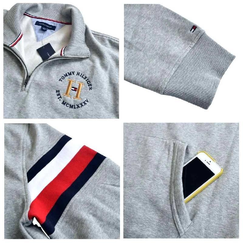 大きいサイズメンズ TOMMY HILFIGER トミーヒルフィガー ハーフジップ スウェットシャツ トレーナー ロゴ刺繍 XL XXL XXXL