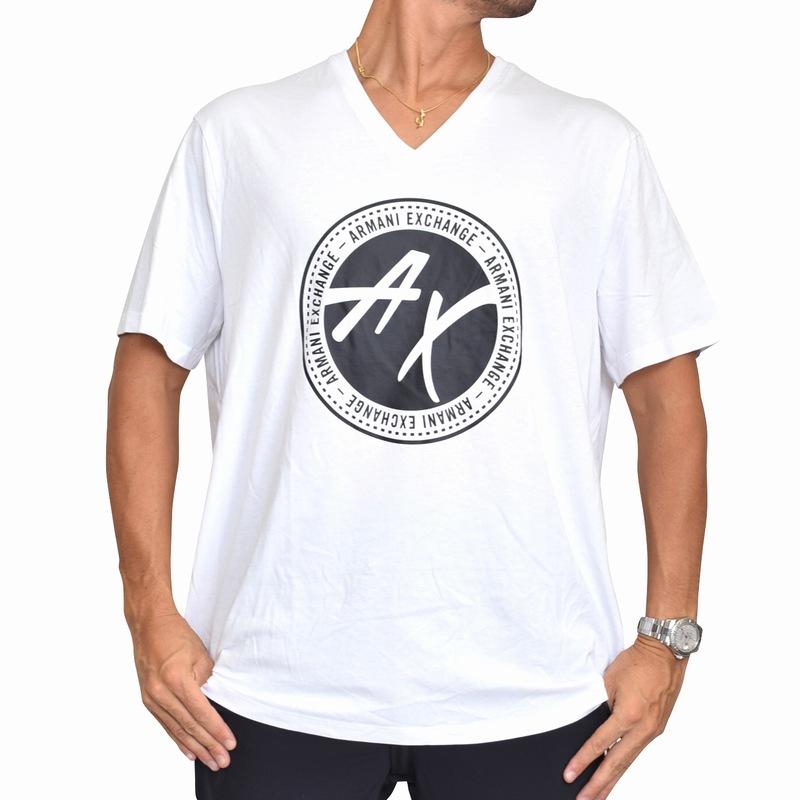 【SALE】 大きいサイズ メンズ アルマーニエクスチェンジ A/X ARMANI EXCHANGE ロゴプリント Vネック 半袖Tシャツ REGULAR FIT 黒 ブラック XL XXL 【メール便対応】 [M便 1/1]