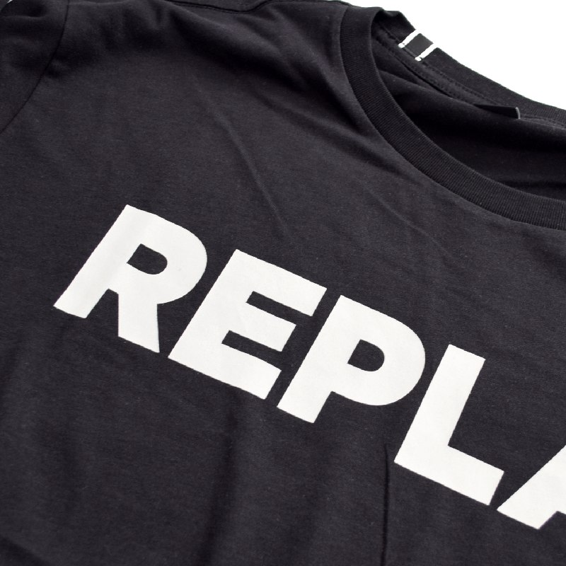 大きいサイズ メンズ REPLAY リプレイ 半袖Tシャツ プリント 黒 ブラック XXL XXXL 【メール便対応】 [M便 1/1]