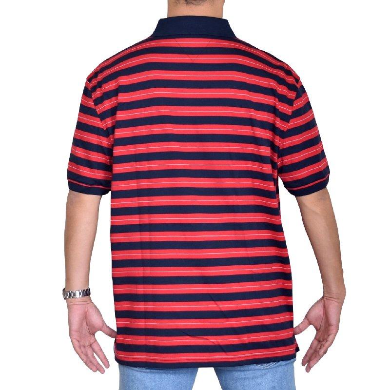 大きいサイズメンズ トミーヒルフィガー TOMMY HILFIGER 半袖 ポロシャツ ボーダー柄 ワンポイント XL XXL XXXL
