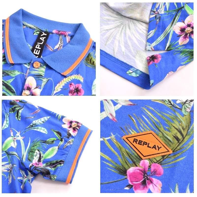 大きいサイズ メンズ REPLAY リプレイ 半袖ポロシャツ フラワー ボタニカル柄 リゾート コットン XL XXL