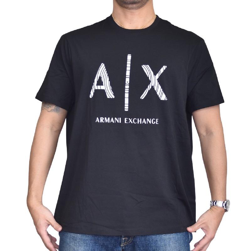大きいサイズ メンズ アルマーニエクスチェンジ A/X ARMANI EXCHANGE ロゴプリント クルーネック 半袖Tシャツ REGULAR FIT 黒 ブラック XL XXL 【メール便対応】 [M便 1/1]