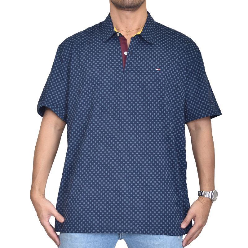 大きいサイズメンズ トミーヒルフィガー TOMMY HILFIGER 総柄 半袖 ポロシャツ ワンポイント XL XXL