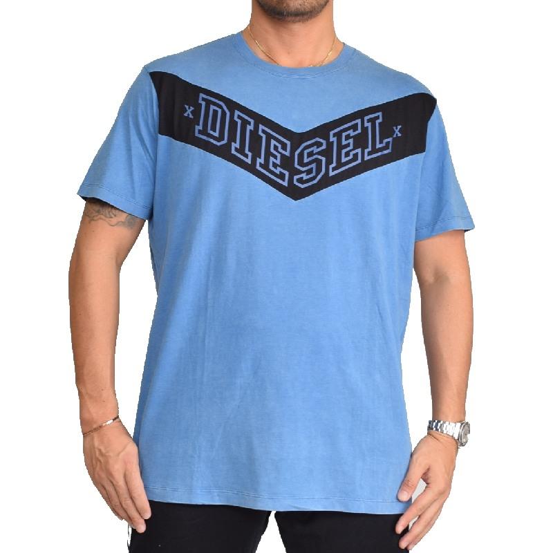 【SALE】 大きいサイズ メンズ ディーゼル Diesel 半袖 クルーネック Tシャツ ブルー 青 T-PATRY XXL 【メール便対応】 [M便 1/1]