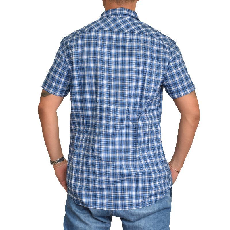 【SALE】 大きいサイズ メンズ ディーゼル Diesel 半袖シャツ チェック柄 青 ブルー S-JUGO XXL