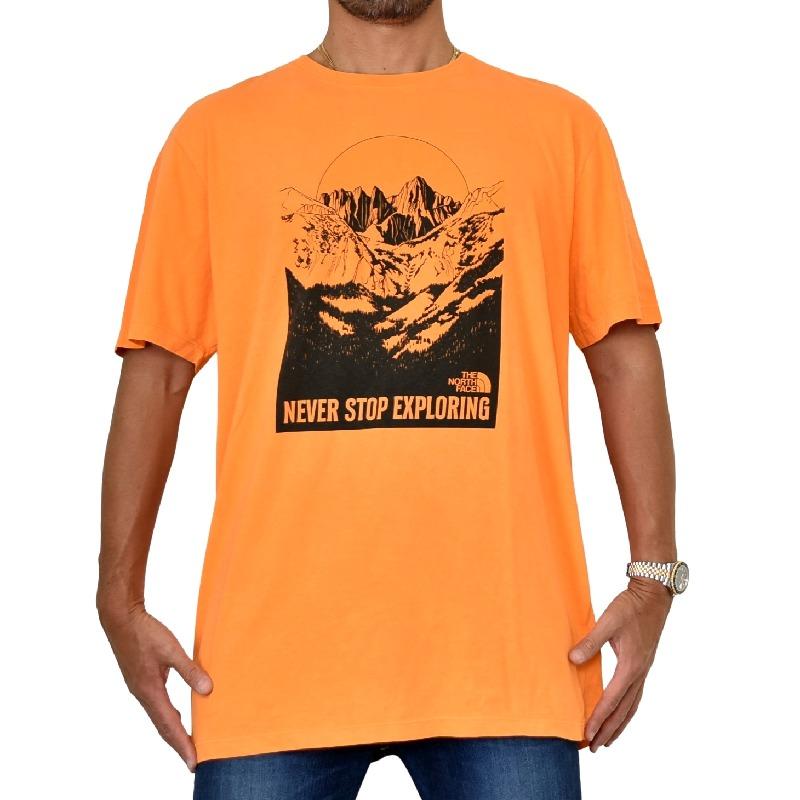 大きいサイズ メンズ ノースフェイス 半袖 グラフィック プリント Tシャツ USAモデル オレンジ XL XXL THE NORTH FACE 【メール便対応】 [M便 1/1]