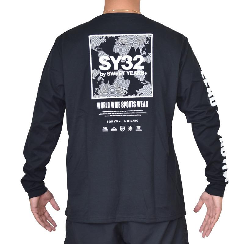 【別注】 大きいサイズ メンズ SY32 by SWEET YEARS スウィートイヤーズ SQUARE MULTI LOGO L/S TEE ロンT 長袖Tシャツ スクエアロゴ アームロゴ XXL XXXL XXXXL 【メール便対応】 [M便 1/1]
