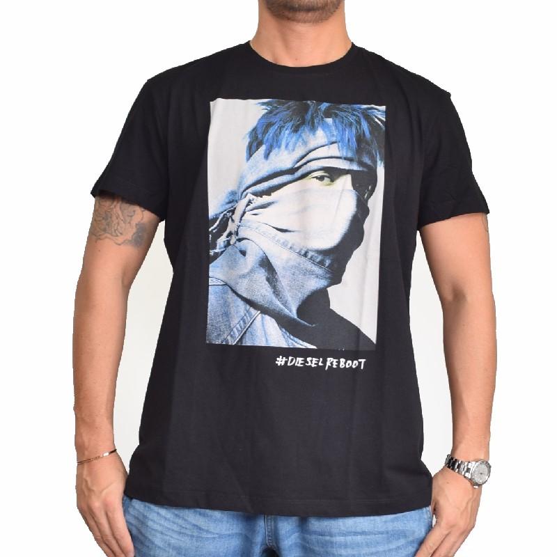 【SALE】 大きいサイズ メンズ ディーゼル Diesel 半袖 クルーネック Tシャツ 黒 白 ブラック ホワイト T-REBOOT-REBEL XXL XXXL 【メール便対応】 [M便 1/1]