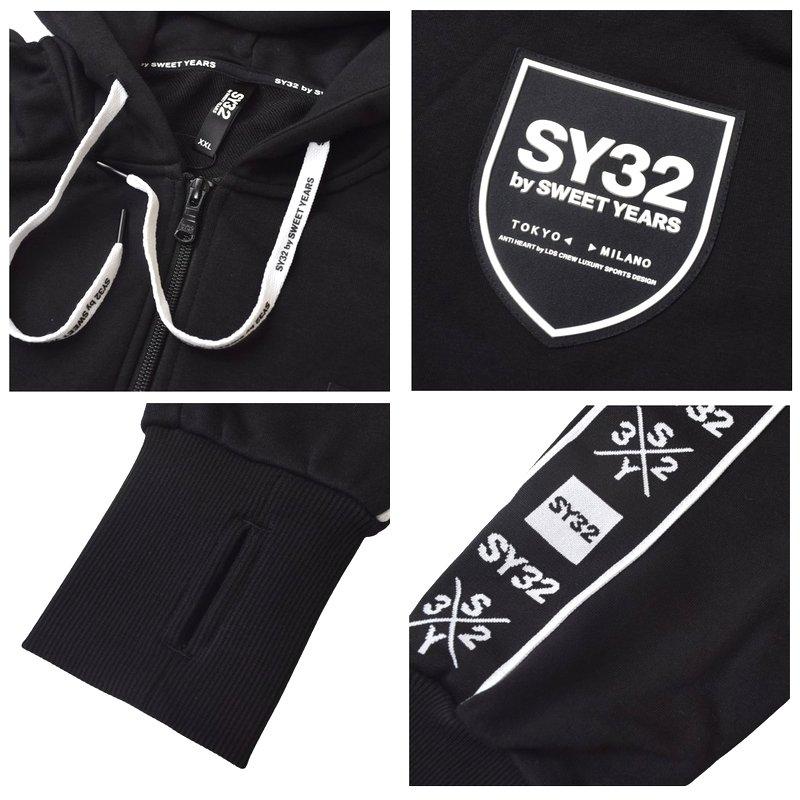 【別注】 大きいサイズ メンズ SY32 by SWEET YEARS スウィートイヤーズ LINE TAPE ZIP HOODIE SWEAT PANTS ラインテープ フルジップ フーディー パーカー スウェット セットアップ 上下 XXL XXXL XXXXL